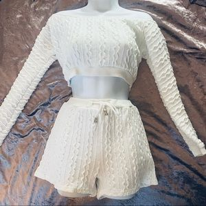 Cream Shorts & Cropped Sweater Knit Set